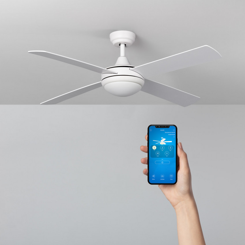 White 132cm Baffin WiFi LED Ceiling Fan with DC Motor
