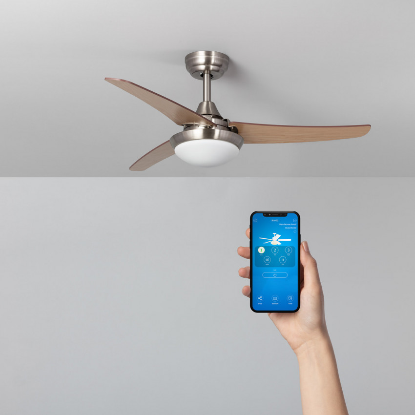 Wooden 107cm Neil LED WiFi Ceiling Fan with DC Motor