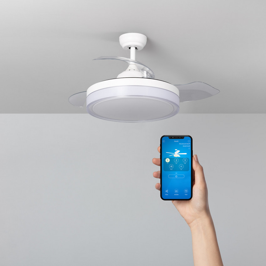White 106cm Caicos LED WiFi Ceiling Fan with DC Motor