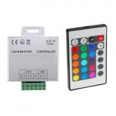 12/24V RGB LED Strip Controller + IR Remote Control Dimmmer with 24 Buttons